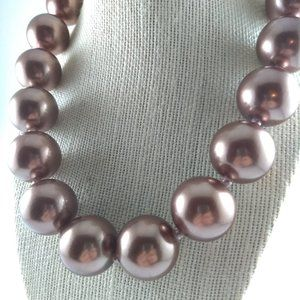Jewelry - Chunky Large Mocha Pearl Beaded Statement Necklace
